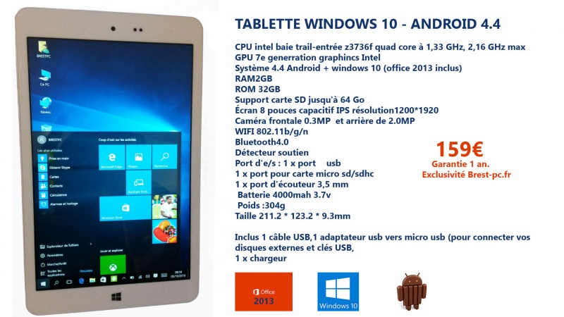Tablette windows 10 159€ office 2013 inclus